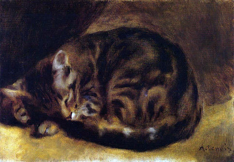 Pierre Auguste Renoir Sleeping Cat - Hand Painted Oil Painting