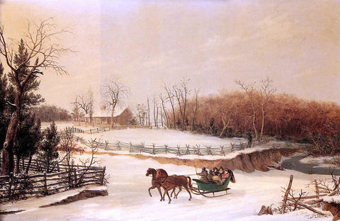 Thomas Birch Sleigh Ride - Hand Painted Oil Painting