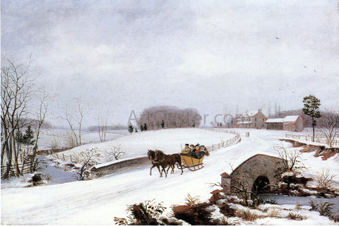 Thomas Birch Sleigh Ride on a Gray Day - Hand Painted Oil Painting