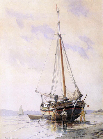 Frederic Schiller Cozzens Sloop Aground on the Hudson - Hand Painted Oil Painting