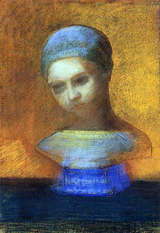 Odilon Redon Small Bust of a Young Girl - Hand Painted Oil Painting