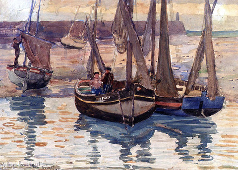 Maurice Prendergast Small Fishing Boats, Treport, France - Hand Painted Oil Painting