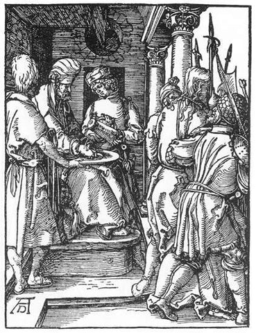 Albrecht Durer Small Passion: 20. Pilate Washing His Hands - Hand Painted Oil Painting