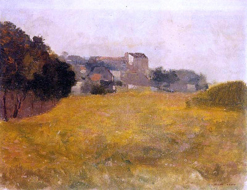 Odilon Redon Small Village in the Medoc - Hand Painted Oil Painting