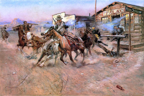 Charles Marion Russell Smoke of a .45 - Hand Painted Oil Painting