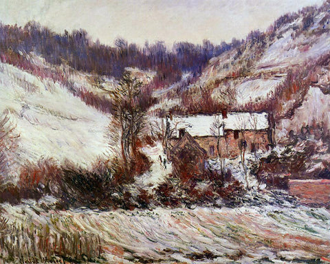 Claude Oscar Monet Snow Effect at Falaise - Hand Painted Oil Painting