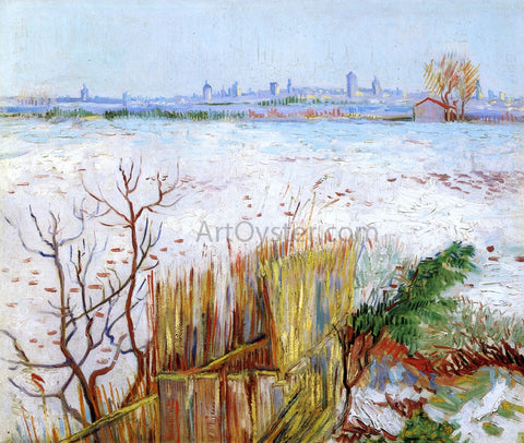 Vincent Van Gogh Snowy Landscape with Arles in the Background - Hand Painted Oil Painting
