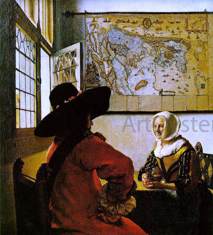 Johannes Vermeer Soldier and a Laughing Girl - Hand Painted Oil Painting