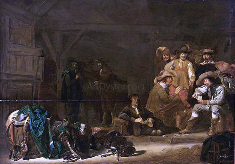Simon Kick Soldiers in a Barn - Hand Painted Oil Painting