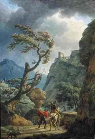 Claude-Joseph Vernet Soldiers in a Mountain Gorge, with a Storm - Hand Painted Oil Painting