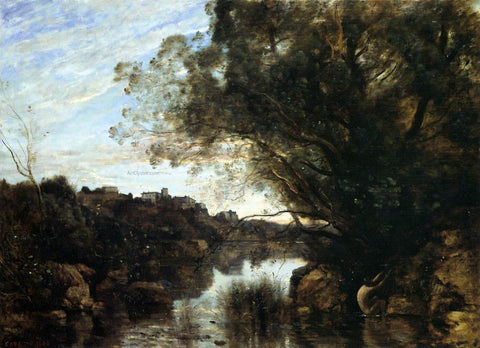 Jean-Baptiste-Camille Corot Souvenir of the Lake Nemi Region - Hand Painted Oil Painting