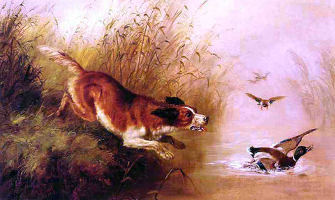 Arthur Fitzwilliam Tait Spaniel Chasing Ducks - Hand Painted Oil Painting