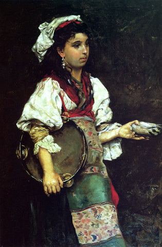 Julius LeBlanc Stewart A Spanish Girl - Hand Painted Oil Painting