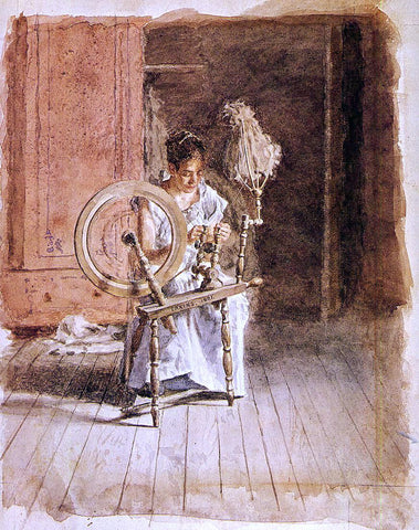 Thomas Eakins Spinning - Hand Painted Oil Painting