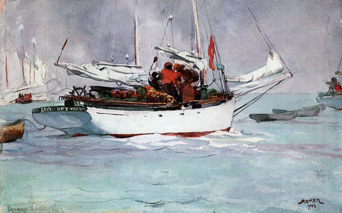 Winslow Homer Sponge Boats, Key West - Hand Painted Oil Painting