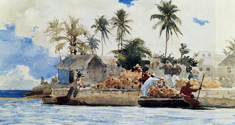 Winslow Homer Sponge Fishing, Nassau - Hand Painted Oil Painting