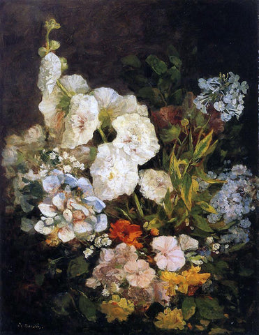 Eugene-Louis Boudin Spray of Flowers - Hollyhocks - Hand Painted Oil Painting