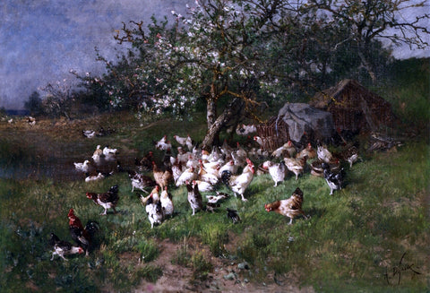Alexandre Defaux Spring, Chickens under Flowering Apple Trees - Hand Painted Oil Painting