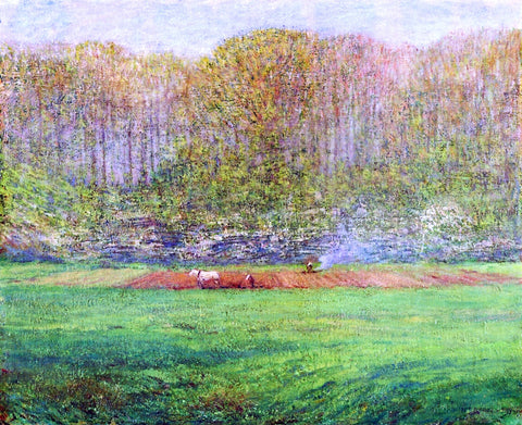 Dwight W Tryon Spring Landscape with a Farmer and White Horse - Hand Painted Oil Painting