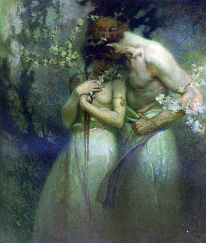 Alphonse Maria Mucha A Spring Night - Hand Painted Oil Painting