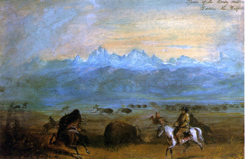 Alfred Jacob Miller Spurs of the Rocky Mountains - Baiting the Buffalo - Hand Painted Oil Painting