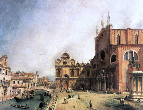 Canaletto SS. Giovanni e Paulo and the Scuola de San Marco - Hand Painted Oil Painting