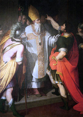 Camillo Procaccini St Ambrose Stopping Theodosius - Hand Painted Oil Painting