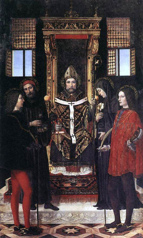 Ambrogio Bergog St Ambrose with Saints - Hand Painted Oil Painting