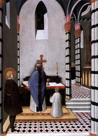 Master the Osservanza St Anthony at Mass Dedicates His Life to God - Hand Painted Oil Painting