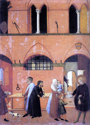 Master the Osservanza St Anthony Distributing his Wealth to the Poor - Hand Painted Oil Painting