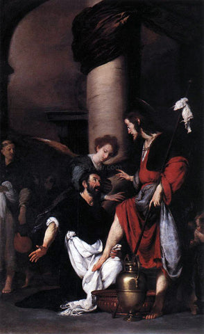 Bernardo Strozzi St Augustine Washing the Feet of Christ - Hand Painted Oil Painting