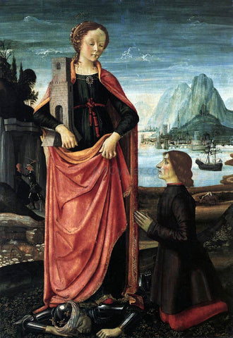 Domenico Ghirlandaio St Barbara Crushing her Infidel Father, with a Kneeling Donor - Hand Painted Oil Painting