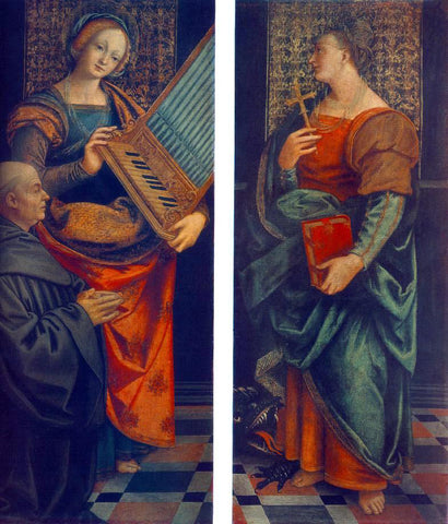 Gaudenzio Ferrari St Cecile with the Donator and St Marguerite - Hand Painted Oil Painting