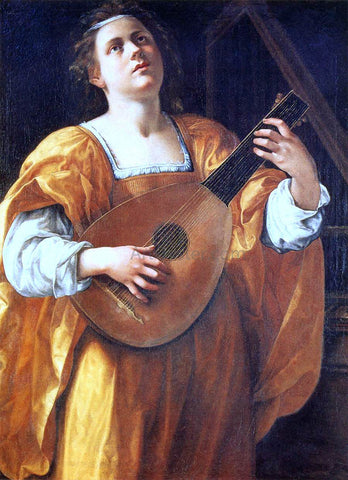 Artemisia Gentileschi St Cecilia Playing a Lute - Hand Painted Oil Painting