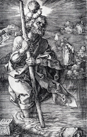 Albrecht Durer St. Christopher Facing To The Right - Hand Painted Oil Painting