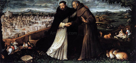 Angelo Lion St Dominic and St Francis - Hand Painted Oil Painting