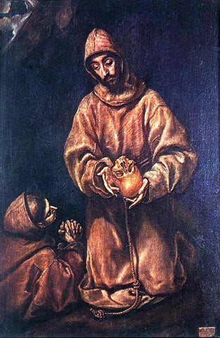 El Greco St Francis and Brother Rufus - Hand Painted Oil Painting