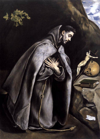 El Greco St Francis Meditating - Hand Painted Oil Painting