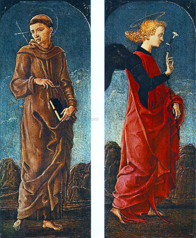 Cosme Tura St Francis of Assisi and Announcing Angel (panels of a polyptych) - Hand Painted Oil Painting