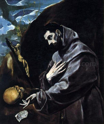 El Greco St Francis Praying - Hand Painted Oil Painting