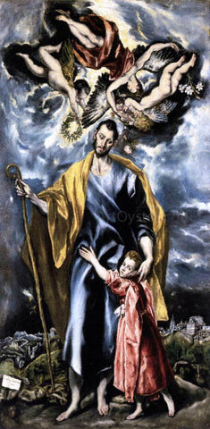 El Greco St Joseph and the Christ Child - Hand Painted Oil Painting
