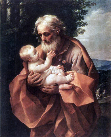 Guido Reni St Joseph with the Infant Jesus - Hand Painted Oil Painting