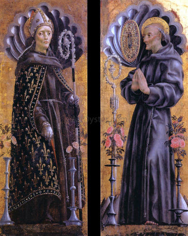 Michele Pannonio St Louis of Toulouse; St Bernardino of Siena - Hand Painted Oil Painting