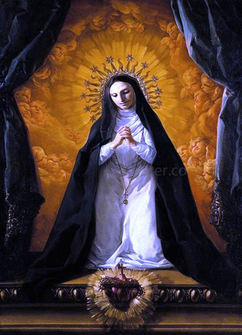 Corrado Giaquinto St Margaret Mary Alacoque Contemplating the Sacred Heart of Jesus - Hand Painted Oil Painting