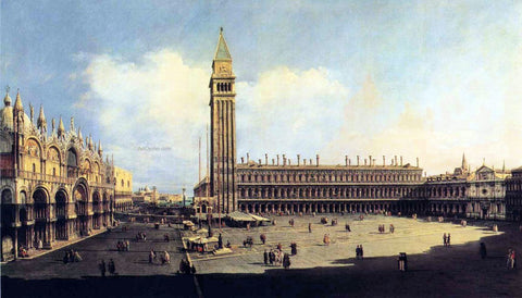 Bernardo Bellotto St. Mark's Square from the Clock Tower Facing the Procuratie Nuove - Hand Painted Oil Painting