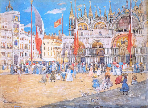 Maurice Prendergast St. Mark's, Venice - Hand Painted Oil Painting