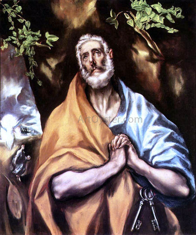 El Greco St Peter in Penitence - Hand Painted Oil Painting