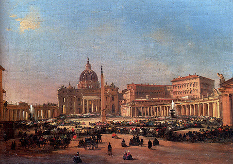 Ippolito Caffi St. Peter's and the Vatican Palace, Rome - Hand Painted Oil Painting