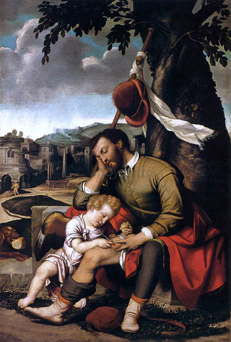 Moretto Da Brescia St Roch with an Angel - Hand Painted Oil Painting