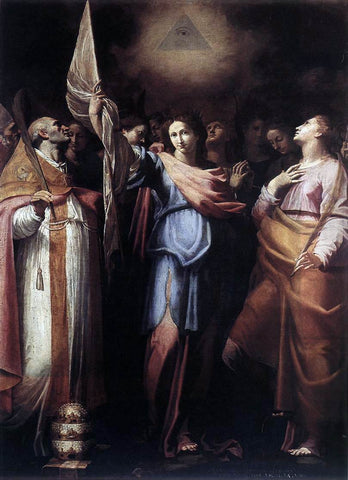 Bartolomeo Cavarozzi St Ursula and Her Companions with Pope Ciriacus and St Catherine of Alexandria - Hand Painted Oil Painting
